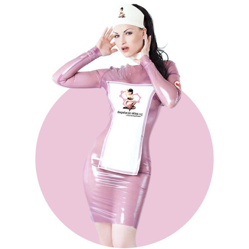 Dopalacze Sklep: Kobieta w lateksowej sukience i kitlu z logo